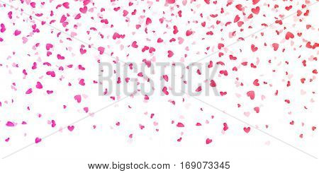 Hearts petals falling on white background for Saint Valentine Day greeting card design. Flower pink petals in shape of heart confetti