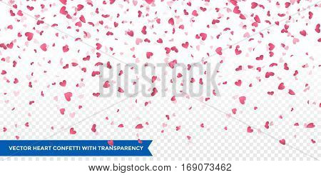 Heart confetti of Valentines petals falling on transparent background. Flower petal in shape of heart confetti