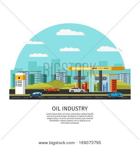 Petrol gas station template near road with colorful cars and city buildings vector illustration