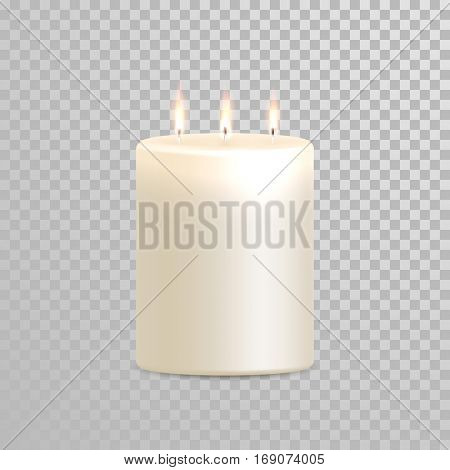 Vector candles with burning flames of wax paraffin on transparent background. Vector 3D realistic isolated decoration white or beige element design poster