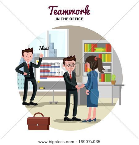 Business partnership template with businessman and businesswoman making deal and shaking hands in office vector illustration