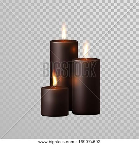 Aromatic coffee brown or black candles set. Vector 3D realistic isolated decorative candle sticks with burning flames on transparent background. Decoration round cylindrical element design