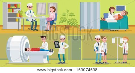 Healthcare horizontal banners with medical consultation doctors nurses and ultrasound MRI x-ray diagnostic procedures vector illustration