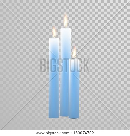 Vector candles with burning flames of blue wax paraffin on transparent background. Aromatherapy element design