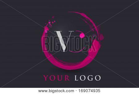 VC Circular Letter Brush Logo. Pink Brush with Splash Concept Design.