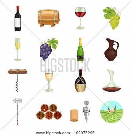 Wine production set icons in cartoon design. Big collection of wine production vector symbol stock illustration