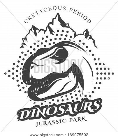 Vintage reptile label with dinosaur of mesozoic era in monochrome style isolated vector illustration
