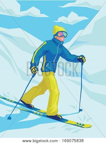 Happy guy on winter resort skiing there. Male on the ski on the background of snowy landscape. Young man skier goes down the mountain slope. Colorful vector illustration for your design, prints and artworks.
