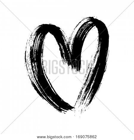 Heart isolated hand drawn vector icon sketch for Valentines day design. Heart drawing marker or felt-tip pen on white background. Valentine day, wedding birthday love element symbol