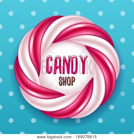 Candy shop design. Round swirl candy cane and polka dot background. Hard candy frame.