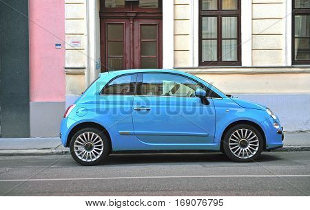VIENNA AUSTRIA - JUNE 6: New Fiat 500 in the street of Vienna on June 6 2016. Fiat 500 is a passenger car manufactured by Fiat since 2007.
