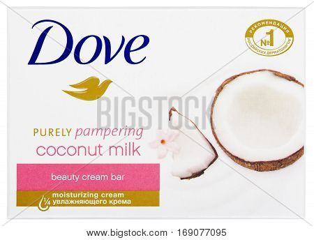 Dove Purely Pampering Coconut Milk - Beauty Cream Bar Soap Isolated On White
