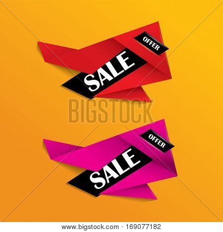 Sale banner or tag in red and pink colors - catchy vector origami design