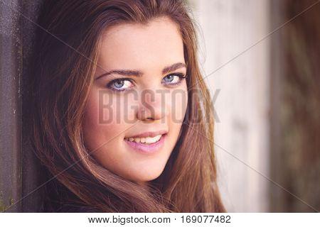 Beautiful closeup young woman smiling