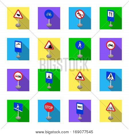 Road signs set icons in flat design. Big collection of road signs vector symbol stock illustration