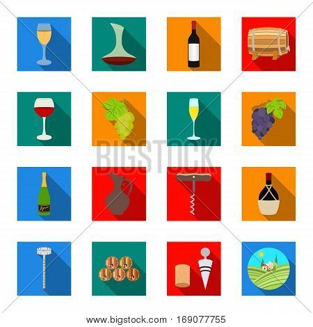 Wine production set icons in flat design. Big collection of wine production vector symbol stock illustration