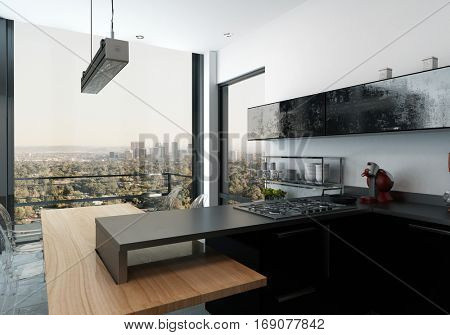 Modern open plan kitchen with built in hob and black cabinetry overlooking an exterior patio and city view through large windows, 3d rendering