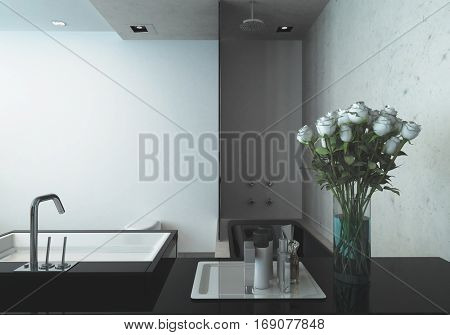 Modern hand basin in a studio apartment with vase of fresh flowers and toiletries, 3d rendering
