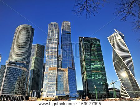 MOSCOW RUSSIA - FEBRUARY 2: View of skyscrapers of Moscow city on February 2 2017. Moscow is the capital and largest city of Russia.