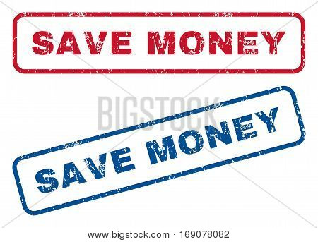 Save Money text rubber seal stamp watermarks. Vector style is blue and red ink caption inside rounded rectangular shape. Grunge design and dirty texture. Blue and red signs.