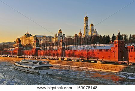 MOSCOW RUSSIA - FEBRUARY 2: Touristic speed boat goes by Moscow river on February 2 2017. Moscow is the capital and largest city of Russia.