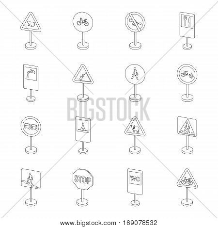 Transportation set icons in outline design. Big collection of transportation vector symbol stock illustration