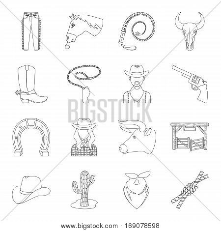 Rodeo set icons in outline design. Big collection of rodeo vector symbol stock illustration