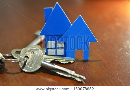 Bunch Of Keys With House Shaped Cardboard