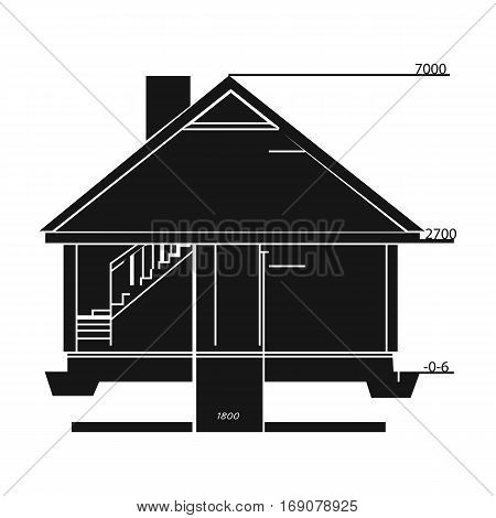 Technical drawing of house icon in monochrome design isolated on white background. Architect symbol stock vector illustration.