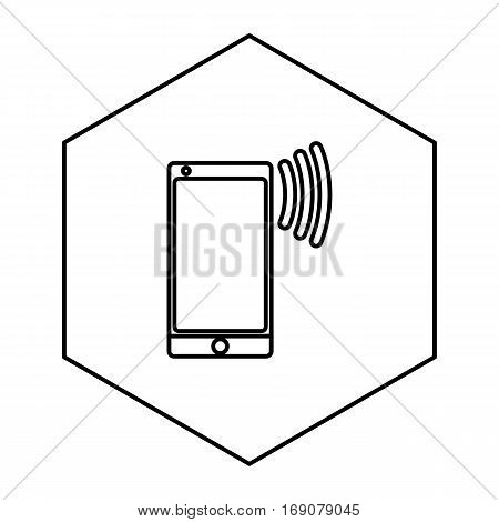a simple thin line cellphone icon vector