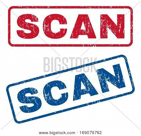 Scan text rubber seal stamp watermarks. Vector style is blue and red ink caption inside rounded rectangular shape. Grunge design and scratched texture. Blue and red emblems.