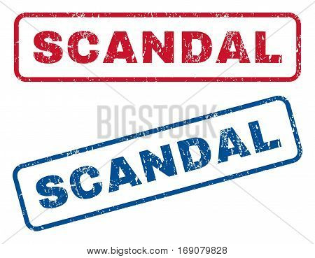 Scandal text rubber seal stamp watermarks. Vector style is blue and red ink caption inside rounded rectangular banner. Grunge design and unclean texture. Blue and red signs.