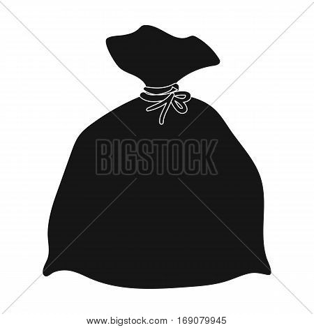 Garbage bag icon in black design isolated on white background. Cleaning symbol stock vector illustration.