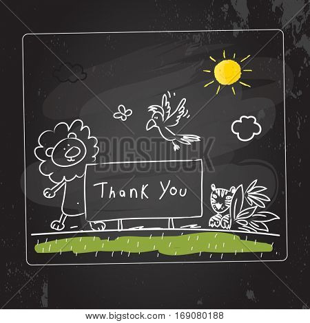 Animals thank you card vector illustration. Chalk on blackboard, sketch, scribble style doodle, with animals.