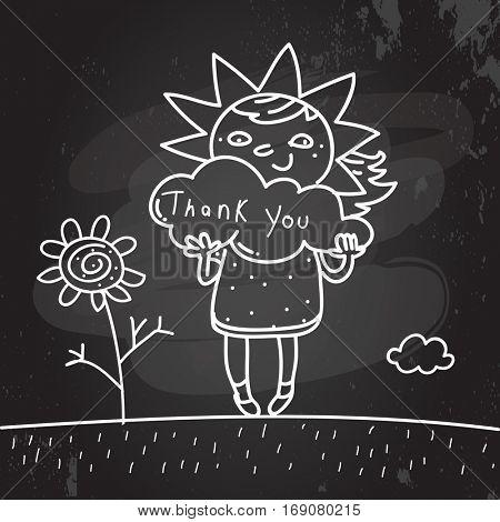 Kids thank you card vector illustration. chalk on blackboard, sketch, scribble style doodle.
