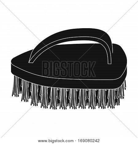 Cleaning brush icon in black design isolated on white background. Cleaning symbol stock vector illustration.