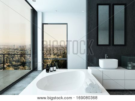 Modern spacious hotel bathroom interior with rolled clean white towels, a contemporary bathtub and city view through a glass wall with outdoor balcony, 3d rendering