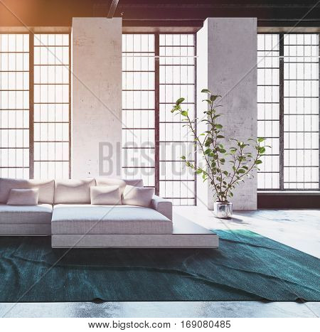 Bright light living room interior with a large modular cream colored sofa and cushions in front of floor to ceiling feature windows, 3d rendering
