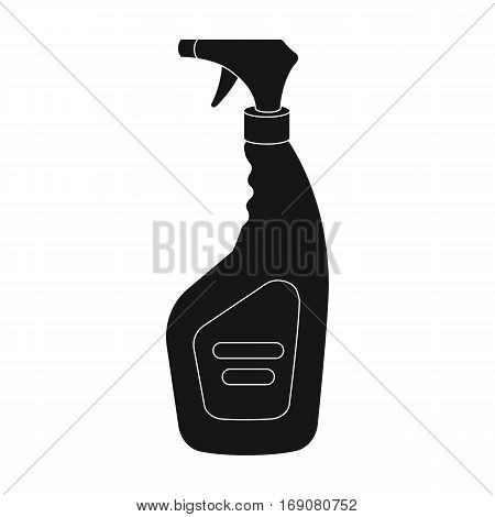 Cleaner spray icon in black design isolated on white background. Cleaning symbol stock vector illustration.