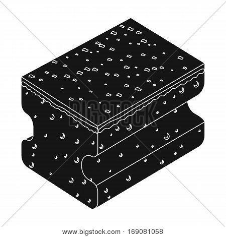 Dishwashing sponge icon in black design isolated on white background. Cleaning symbol stock vector illustration.