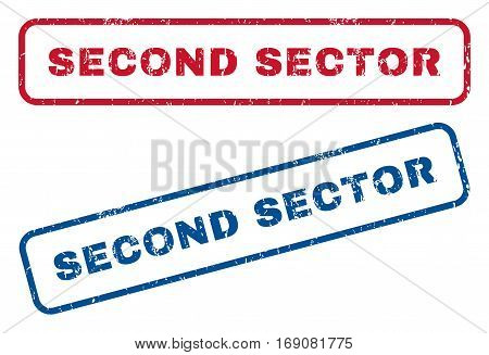 Second Sector text rubber seal stamp watermarks. Vector style is blue and red ink caption inside rounded rectangular shape. Grunge design and scratched texture. Blue and red signs.