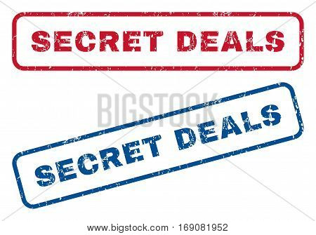 Secret Deals text rubber seal stamp watermarks. Vector style is blue and red ink caption inside rounded rectangular shape. Grunge design and scratched texture. Blue and red emblems.