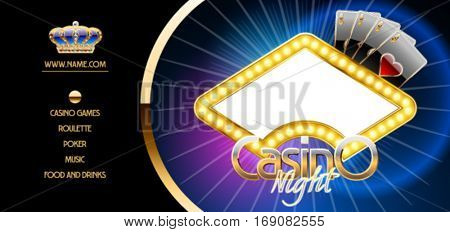 Vector golden ticket template for luxury party in royal casino