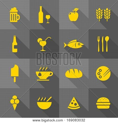 Vector Flat Icon Set - Gastronomy Icons