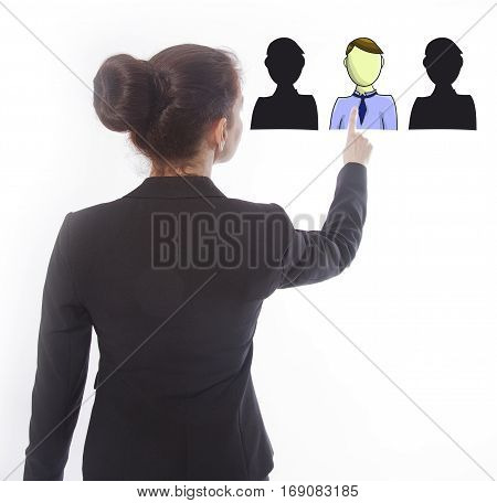 Young businesswoman selecting virtual online friends isolated on white background