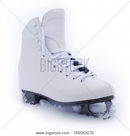 front view of white classical leather iceskate shoe with the metallic blade partially covered in snow