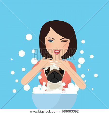 young professional pet groomer washing dog bathing with soap vector illustration