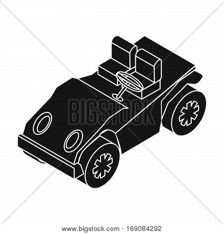Golf cart icon in black design isolated on white background. Transportation symbol stock vector illustration.