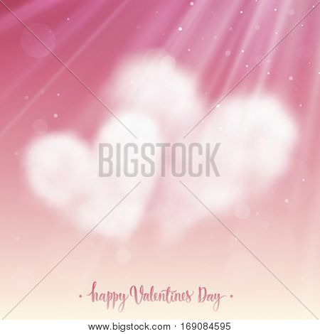 Two heart shaped clouds in the pink sky. Valentine`s day illustration.