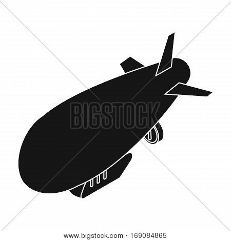Airship icon in black design isolated on white background. Transportation symbol stock vector illustration.